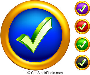 check mark icon on  buttons with golden borders