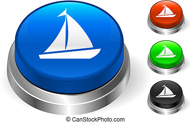 Sail Icon on Internet Button Original Vector Illustration...
