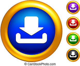 download icon on  buttons with golden borders