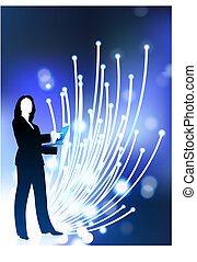 Original Vector Illustration: businesswoman communication fiber optic cable internet background