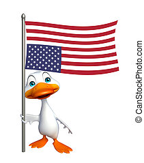 Duck cartoon character with flag