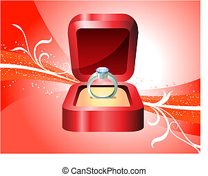 Diamond Ring on Red Background