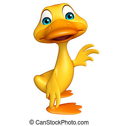 Duck funny cartoon character - 3d rendered illustration of...