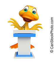 cute Duck cartoon character with speech stage - 3d rendered...