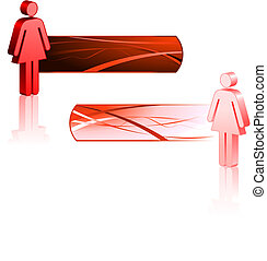 Female Stick Figures with Banners Original Vector...