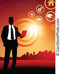 Original Vector Illustration: businessman holding computer laptop on sunset background with skyline