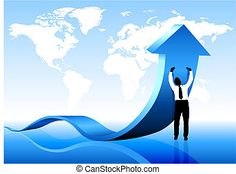 Businessman holding arrow with World Map Background