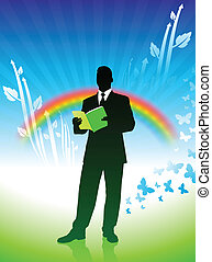 businessman on green nature background with rainbow