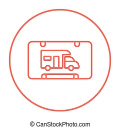 RV camping sign line icon. - RV camping sign line icon for...