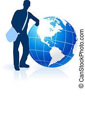 Young Man Traveler around the World
