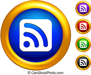 RSS icon on  buttons with golden borders