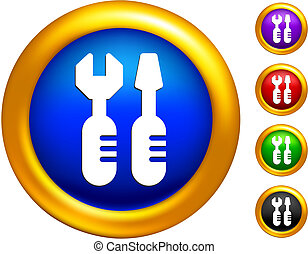 tools icon on  buttons with golden borders