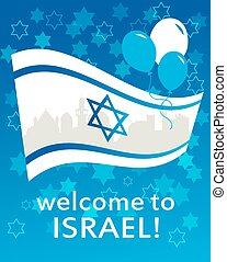 welcome to Israel flag, david star and peace white dove -...