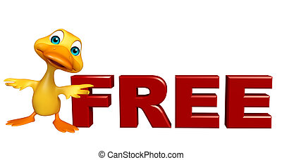 cute Duck cartoon character with free sign - 3d rendered...