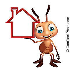 cute Ant cartoon character with home sign - 3d rendered...