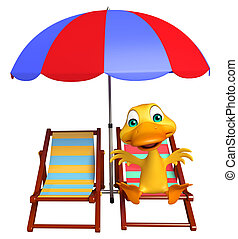 cute Duck cartoon character with beach chair - 3d rendered...
