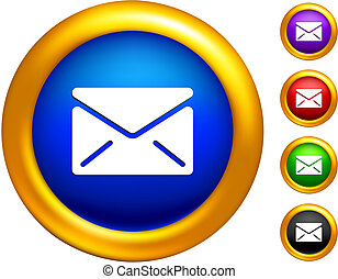 email icon on  buttons with golden borders
