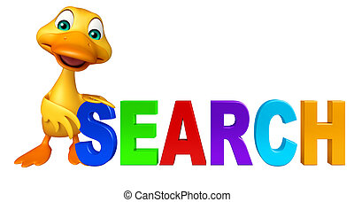 cute Duck cartoon character with search sign - 3d rendered...