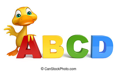 Duck cartoon character with ABCD sign - 3d rendered...