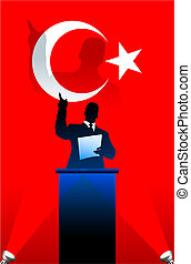Turkey flag with political speaker behind a podium