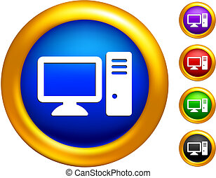 desktop computer icon on  buttons with golden borders