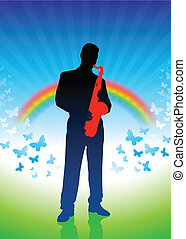 saxophone player on rainbow background