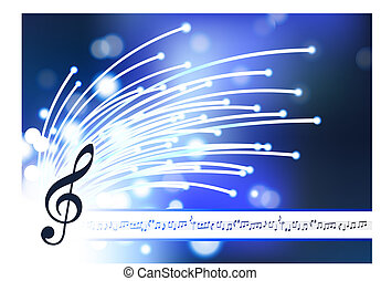 musical note on abstract fiber optic background