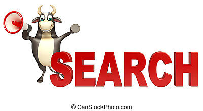Bull cartoon character with loudseaker and search sign - 3d...