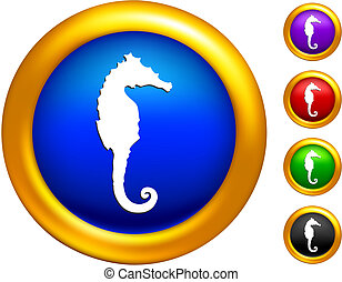 Sea horse icon on  buttons with golden borders