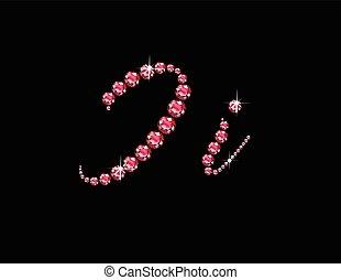 Ii Ruby Script Jeweled Font - Ii in stunning Ruby Script...