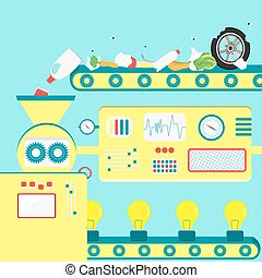 Garbage and energy production - Vector illustration of...