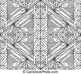 Seamless black and white tribal texture. Vector background for s