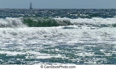 Sailing Vessel On Sea Waves. - Sailing vessel on sea waves...