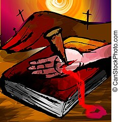 Digital painting of an hand with nail on a bible - The...