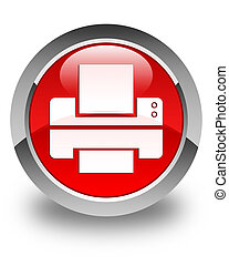 Printer icon glossy red round button