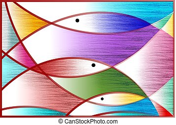 Digital painting symbolic fishes in pattern background. -...