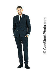 cheerful business man - Full body portrait of young happy...