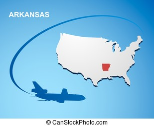 Arkansas on USA map