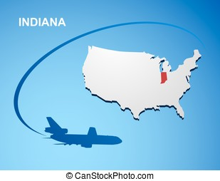 Indiana on USA map