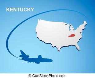 Kentucky on USA map