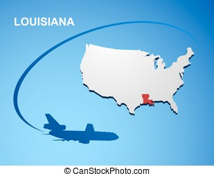 Louisiana on USA map