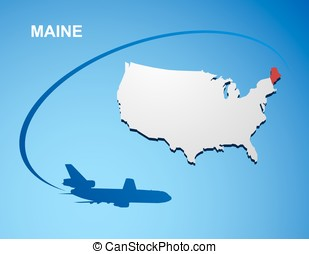 Maine on USA map