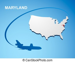 Maryland on USA map