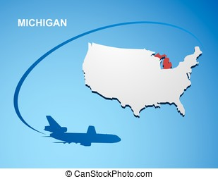 Vector Illustration Of Michigan State Map Flag And Name - Michigan state usa map