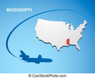 Mississippi on USA map