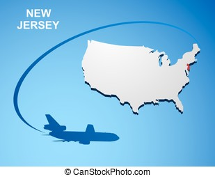 New Jersey on USA map