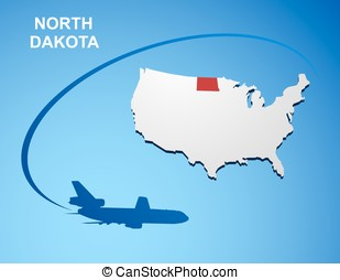 North Dakota on USA map