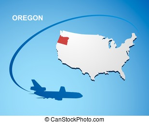 Oregon on USA map