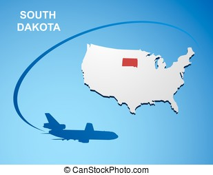 South Dakota on USA map