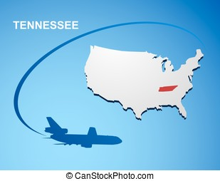 Tennessee on USA map